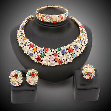 Women Party Bridal Dinner Dress Rhinestone Crystal African Beads Jewelry Sets