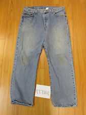 destroyed levi feathered 501 button fly grunge jean tag 36x29 meas 33x29 17724F