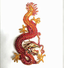 Butler and Wilson Red Orange Crystal Flying Dragon Chinese Brooch NEW