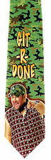 Git R Done Mens Silk Neck Tie Larry The Cable Guy Necktie Comedian Camo Gift New