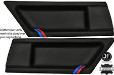 BLACK STITCH M STRIPES 2X REAR DOOR CARD LTHR COVERS FITS BMW E36 COUPE 91-98