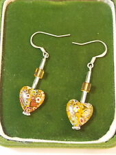 Sterling Silver Yellow Millefiori Glass Heart Bead Crystal Wire Earrings 6a 46
