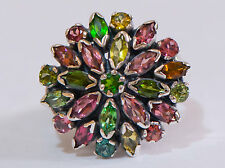 AN EDWARDIAN RING REPODUCTION SET WITH GENUINE TOURMALINE
