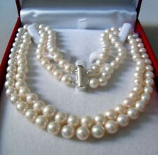 Fashion 2Rows 8-9mm Natural White Akoya Cultured Pearl Hand Knotted Necklace