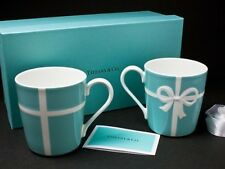 Tiffany & Co. ❤ Bow Ribbon Bone China Relief Mug Cup 2pcs Set w/ Gift Box F/S