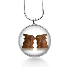 Two Chocolate Easter Bunny love Pendant Necklace, fashion jewelry, gifts