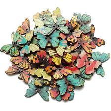 50 Pz Bottoni Farfalla di Legno per Cucito/Mestiere Colori Misti DIY Buttons