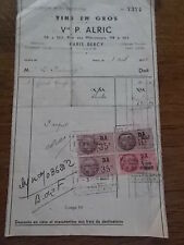 Vintage 1943 French Wine Receipt Ephemera Bill VINS EN GROS PARIS BERCY France
