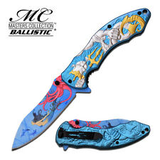 """8.5"""" SILVER POSEIDON SPRING ASSISTED FOLDING KNIFE Blade pocket open switch"""
