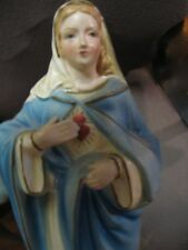 "Vintage Statue Saint Virgin Mary – Madonna - ""Immaculate Heart Of Mary"" -60s MIJ"