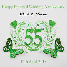 Personalised Handmade Emerald Wedding Anniversary Card (55 years)