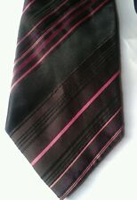 George black brown pink and purple striped silk tie