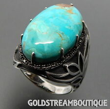 CLYDE DUNEIER 925 SILVER OVAL TURQUOISE SMOKY TOPAZ LOTUS FLOWER WIDE DOME RING