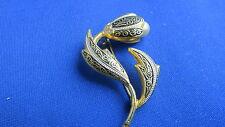 ancienne  broche vintage  metal doré  fantaisie fleurs perle