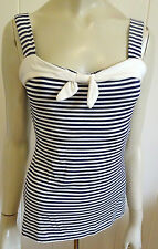 Review stylish navy & cream striped strappy top size 8 (US 4)