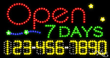 """NEW """"OPEN 7 DAYS"""" 32x17 w/YOUR PHONE NUMBER SOLID/ANIMATED LED SIGN 25029"""