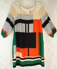 ice Mondrian Style Print Mod Zipper Back 3/4 Sleeve Lined Dress Size 14