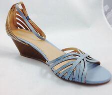 Large size Ladies Wedge Baby Blue Strap Sandals Shoes UK Size 10 PLUS SIZE