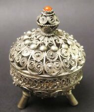 Fine Old Indian Persian Silver Wire Work & Coral Miniature Box  c. 1900  Antique