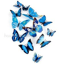 Blue Art Design Decal Wall Stickers Home Decor Room Decorations 3D Butterfly