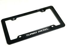 BLACK/SILVER TURBO DIESEL ENGINE LICENSE PLATE TAG FRAME - CARBON FIBER LOOK