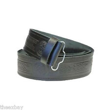 Double Embossed Scottish Black LEATHER KILT BELT Celtic Design Size 28-46