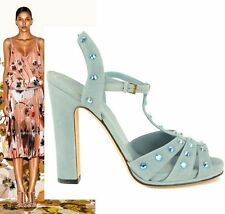 $895 GUCCI SHOES JACQUELYNE CRYSTAL STUDDED STRAPPY SUEDE SANDALS BLUE 41 11