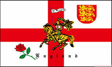 """ST GEORGE CHARGER ENGLAND 18"""" x 12"""" FLOOR STANDING FLAG & WOODEN BASE"""