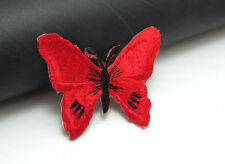 New  2pcs Embroidered Cloth Iron On Patch Sew Motif Applique Red Butterfly