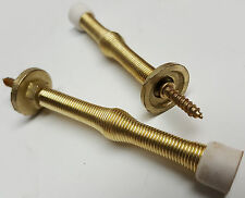 "Pair 3"" Spring Door Stop Brass Plated Door Stoppers Wall Baseboard Screw In"