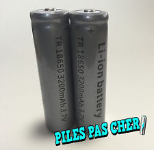 2 PILES ACCUS RECHARGEABLE TR 18650 3.7v 3200mAh Li-ion BATTERIES • QUALITÉ PRO