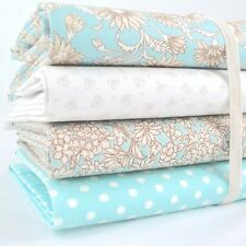 FQ Bundle - Vintage Antique Daisy - Aqua Blue x 4 - Fat Quarter - Cotton Fabric