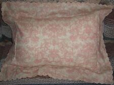 EUC Nancy Koltes Decorative Throw Pillow Made in Italy Fine Linen Beige & Pink