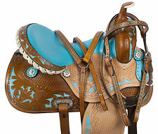 14 15 16 BLUE WESTERN HORSE BARREL RACER LEATHER PLEASURE TRAIL SHOW SADDLE TACK