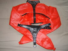 Straight jacket, Red half costume party escapology suit, Leather