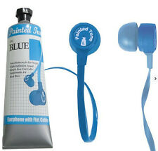 Painted Tunes Sky Blue Stereo Earbuds TangleFree Flat Cord New