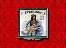 BE KIND TO ANIMALS ANIMAL RIGHTS AD DOG VINTAGE MAKEUP POCKET COMPACT MIRROR