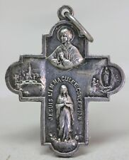 Antique OUR LADY/ MARIAN APPARITIONS AT LOURDES Centenary CROSS Medal 1858-1958