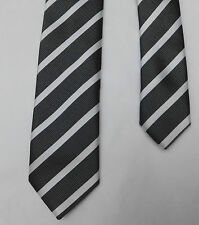 Mens skinny tie Grey and white stripe F&F Machine Washable Formal sober smart