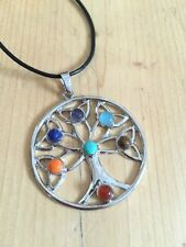 CHAKRA CRYSTAL TREE OF LIFE NECKLACE ROUND GEMSTONE JEWELLERY BUDDHIST NEW AGE