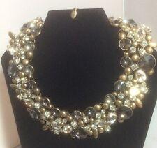 NWT Zara Goldtone Smoke & Clear Stone Statement Necklace