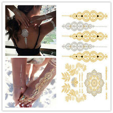 Gold Silver Black Metallic Flash Temporary Tattoo Inspired Body Makeup Sticker