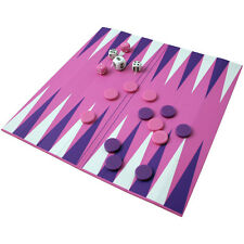 Mini PINK PURPLE BACKGAMMON Set OCTAGON Rollup Roll-up Case Board Game w/ Pieces