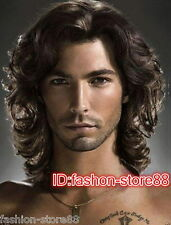 Fashion Men Curly Wave Black Brown Short Wig Synthetic Hair Wigs + free wig Cap