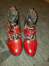 Spring Step L`Artiste Redding Womens Leather Bootie Red Black multi  sz 9 - 40