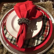 NEW Pottery Barn Red ALPINE Plaid Assorted Salad / Appetizer Plates Set of 4
