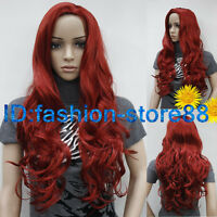 Fashion Sexy Ladies Long Dark Red Cosplay Party Curly Wigs + Free Wig Cap