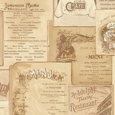 Vintage Cafe Menu in Multiple Shades of Beige & Brown Wallpaper FK26954