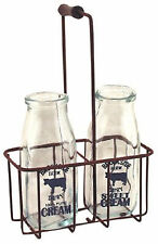 Vintage Milk Bottles Clear Glass Rusty Carrier Decoration Cream Milkman Antique