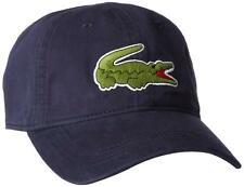 NEW LACOSTE MEN'S SPORT COTTON BIG CROC LOGO GABARDINE HAT CAP NAVY BLUE